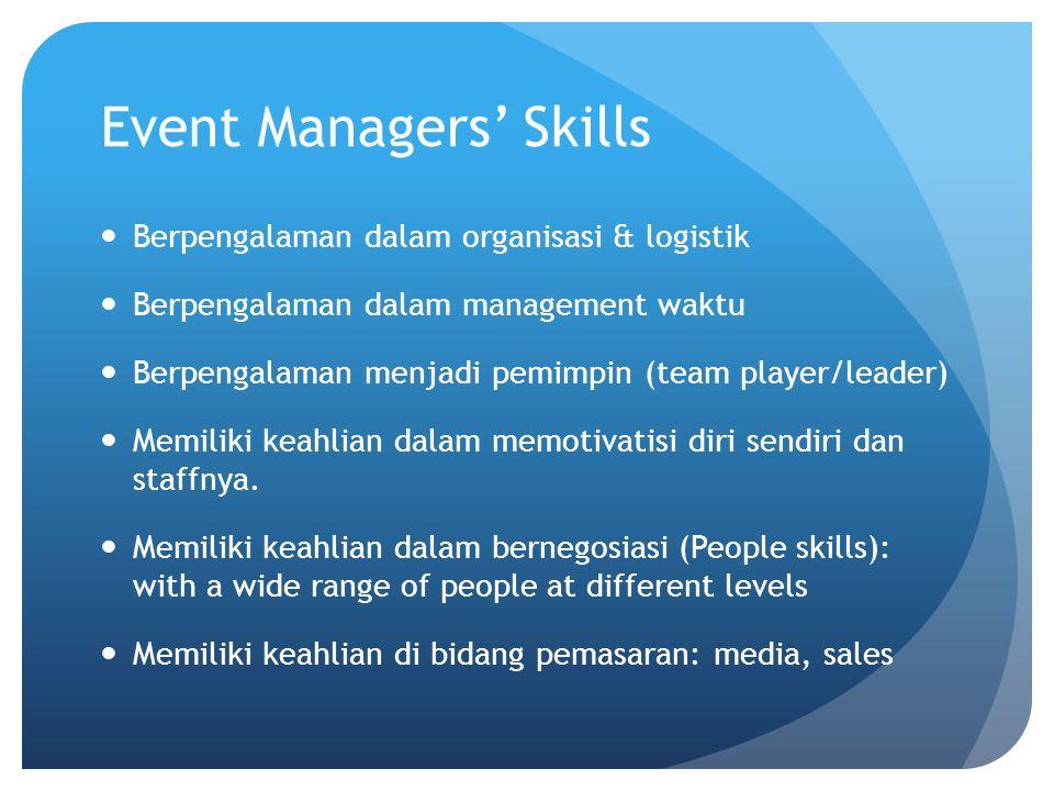 Event Managers' Skills Berpengalaman dalam organisasi & logistik Berpengalaman dalam management waktu Berpengalaman menjadi pemimpin (team player/lead
