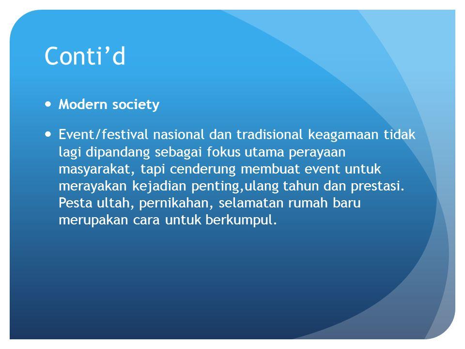 Conti'd Modern society Event/festival nasional dan tradisional keagamaan tidak lagi dipandang sebagai fokus utama perayaan masyarakat, tapi cenderung