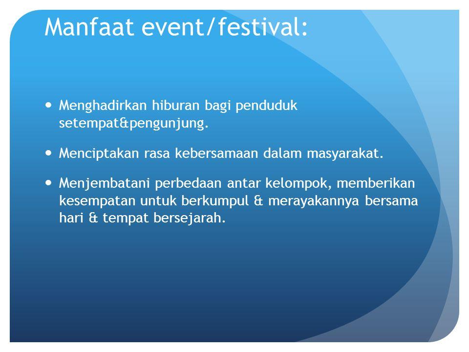 Manfaat event/festival: Menghadirkan hiburan bagi penduduk setempat&pengunjung. Menciptakan rasa kebersamaan dalam masyarakat. Menjembatani perbedaan