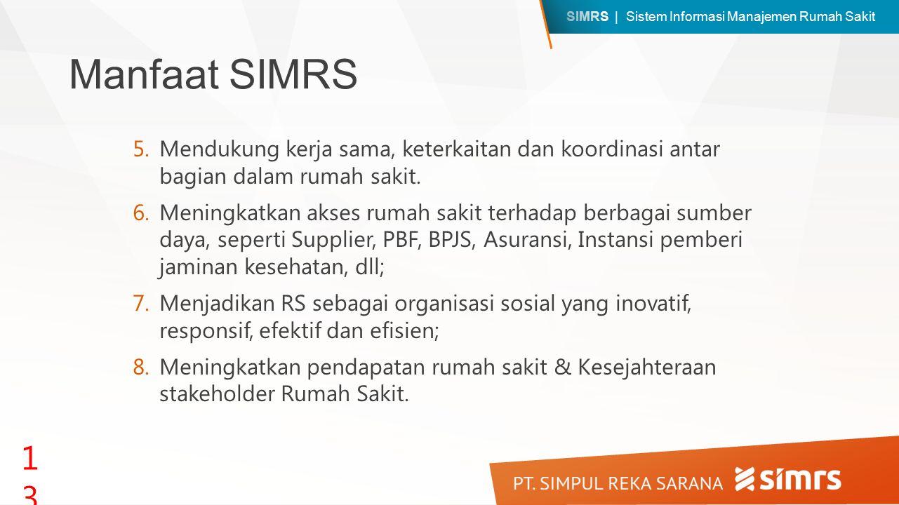 SIMRS | Sistem Informasi Manajemen Rumah Sakit Manfaat SIMRS 5.Mendukung kerja sama, keterkaitan dan koordinasi antar bagian dalam rumah sakit. 6.Meni