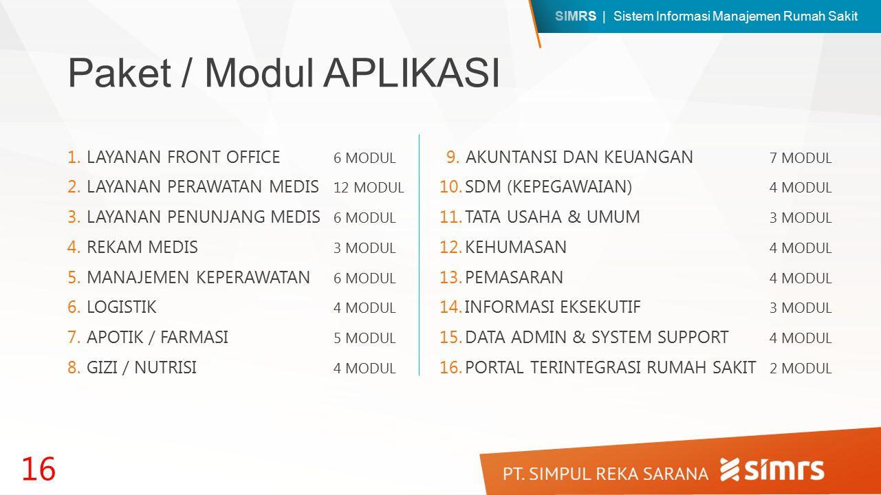 SIMRS | Sistem Informasi Manajemen Rumah Sakit Paket / Modul APLIKASI 1.LAYANAN FRONT OFFICE 6 MODUL 2.LAYANAN PERAWATAN MEDIS 12 MODUL 3.LAYANAN PENUNJANG MEDIS 6 MODUL 4.REKAM MEDIS 3 MODUL 5.MANAJEMEN KEPERAWATAN 6 MODUL 6.LOGISTIK 4 MODUL 7.APOTIK / FARMASI 5 MODUL 8.GIZI / NUTRISI 4 MODUL 16 9.AKUNTANSI DAN KEUANGAN 7 MODUL 10.SDM (KEPEGAWAIAN) 4 MODUL 11.TATA USAHA & UMUM 3 MODUL 12.KEHUMASAN 4 MODUL 13.PEMASARAN 4 MODUL 14.INFORMASI EKSEKUTIF 3 MODUL 15.DATA ADMIN & SYSTEM SUPPORT 4 MODUL 16.PORTAL TERINTEGRASI RUMAH SAKIT 2 MODUL