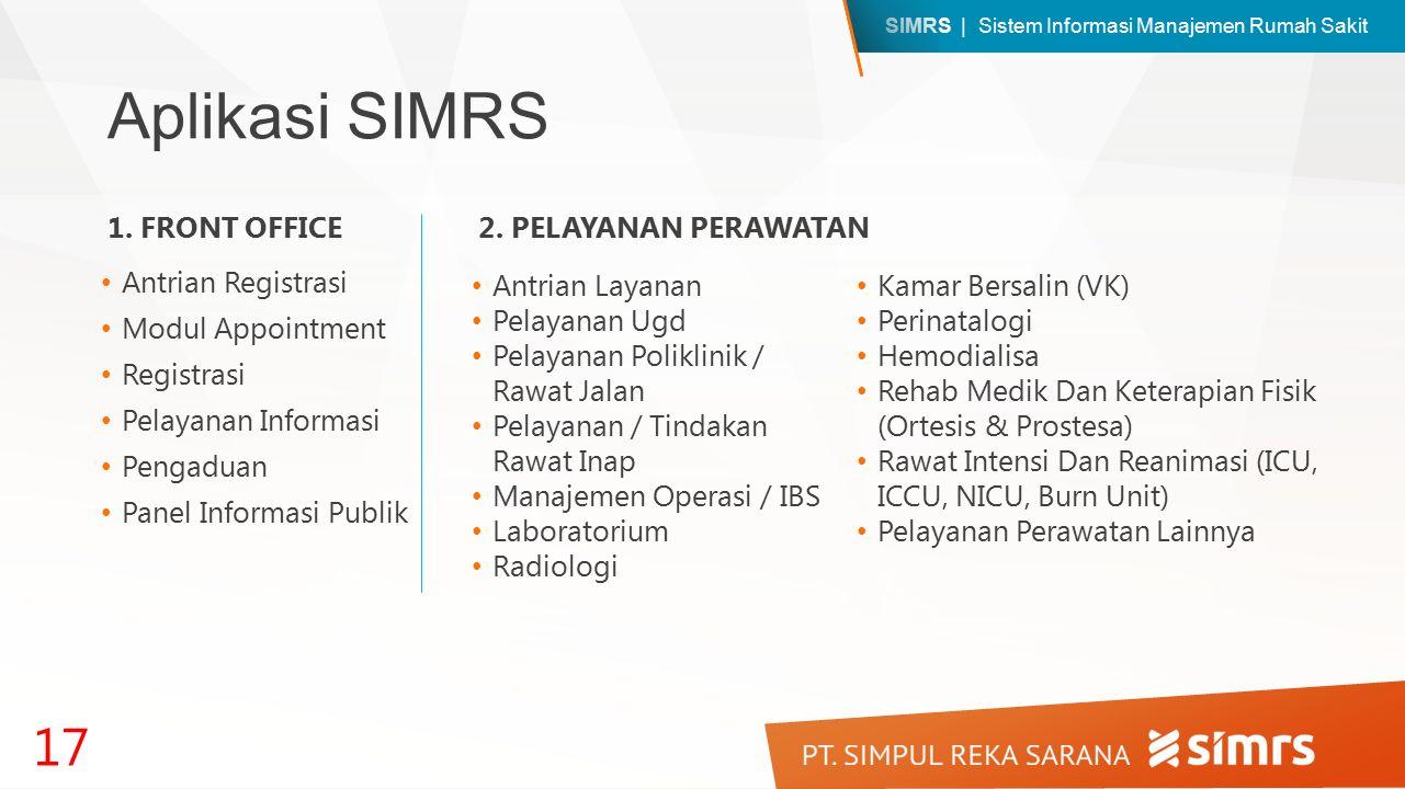 SIMRS | Sistem Informasi Manajemen Rumah Sakit Aplikasi SIMRS Antrian Registrasi Modul Appointment Registrasi Pelayanan Informasi Pengaduan Panel Informasi Publik 17 1.