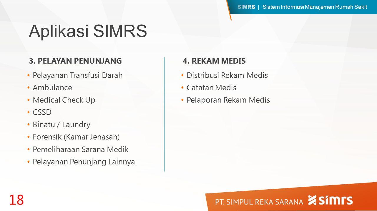 SIMRS | Sistem Informasi Manajemen Rumah Sakit Aplikasi SIMRS Pelayanan Transfusi Darah Ambulance Medical Check Up CSSD Binatu / Laundry Forensik (Kamar Jenasah) Pemeliharaan Sarana Medik Pelayanan Penunjang Lainnya 18 3.