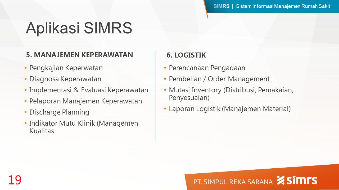 SIMRS | Sistem Informasi Manajemen Rumah Sakit Aplikasi SIMRS Pengkajian Keperwatan Diagnosa Keperawatan Implementasi & Evaluasi Keperawatan Pelaporan Manajemen Keperawatan Discharge Planning Indikator Mutu Klinik (Managemen Kualitas 19 5.