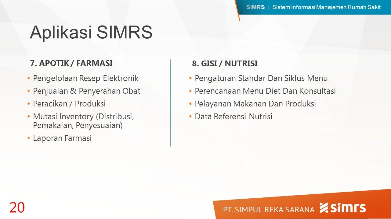 SIMRS | Sistem Informasi Manajemen Rumah Sakit Aplikasi SIMRS Pengelolaan Resep Elektronik Penjualan & Penyerahan Obat Peracikan / Produksi Mutasi Inventory (Distribusi, Pemakaian, Penyesuaian) Laporan Farmasi 20 7.