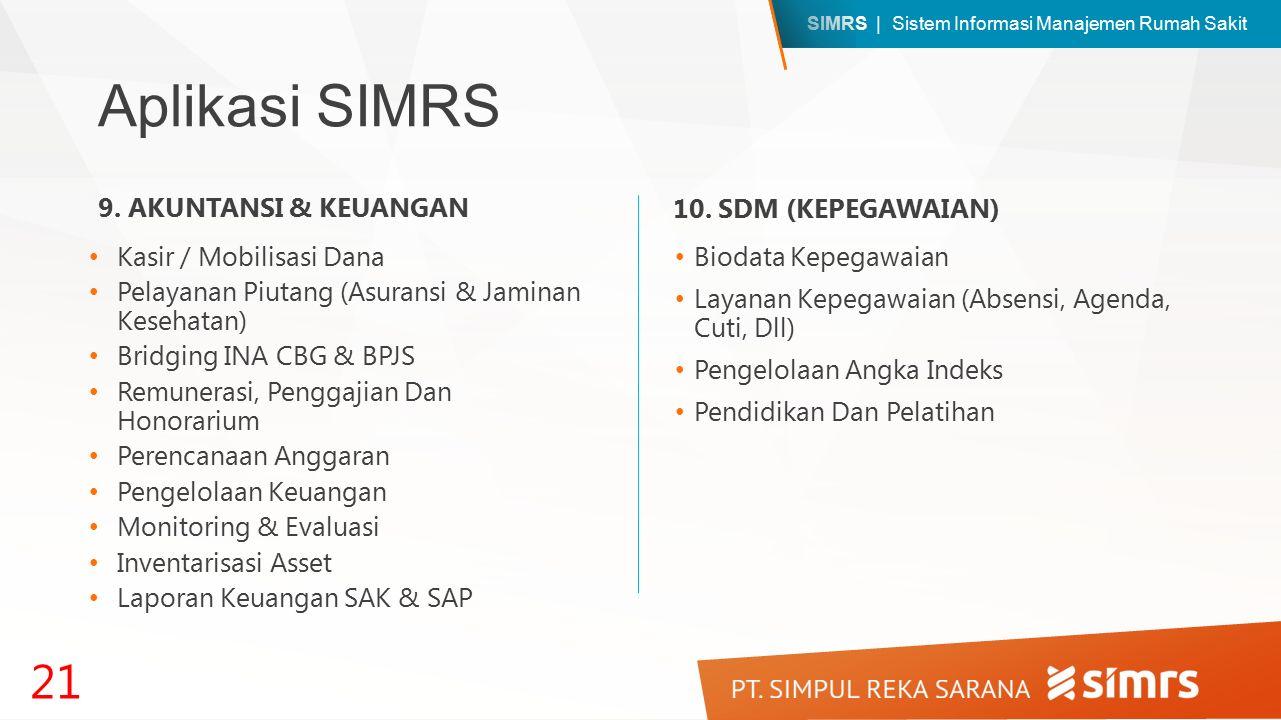 SIMRS | Sistem Informasi Manajemen Rumah Sakit Aplikasi SIMRS Kasir / Mobilisasi Dana Pelayanan Piutang (Asuransi & Jaminan Kesehatan) Bridging INA CBG & BPJS Remunerasi, Penggajian Dan Honorarium Perencanaan Anggaran Pengelolaan Keuangan Monitoring & Evaluasi Inventarisasi Asset Laporan Keuangan SAK & SAP 21 9.