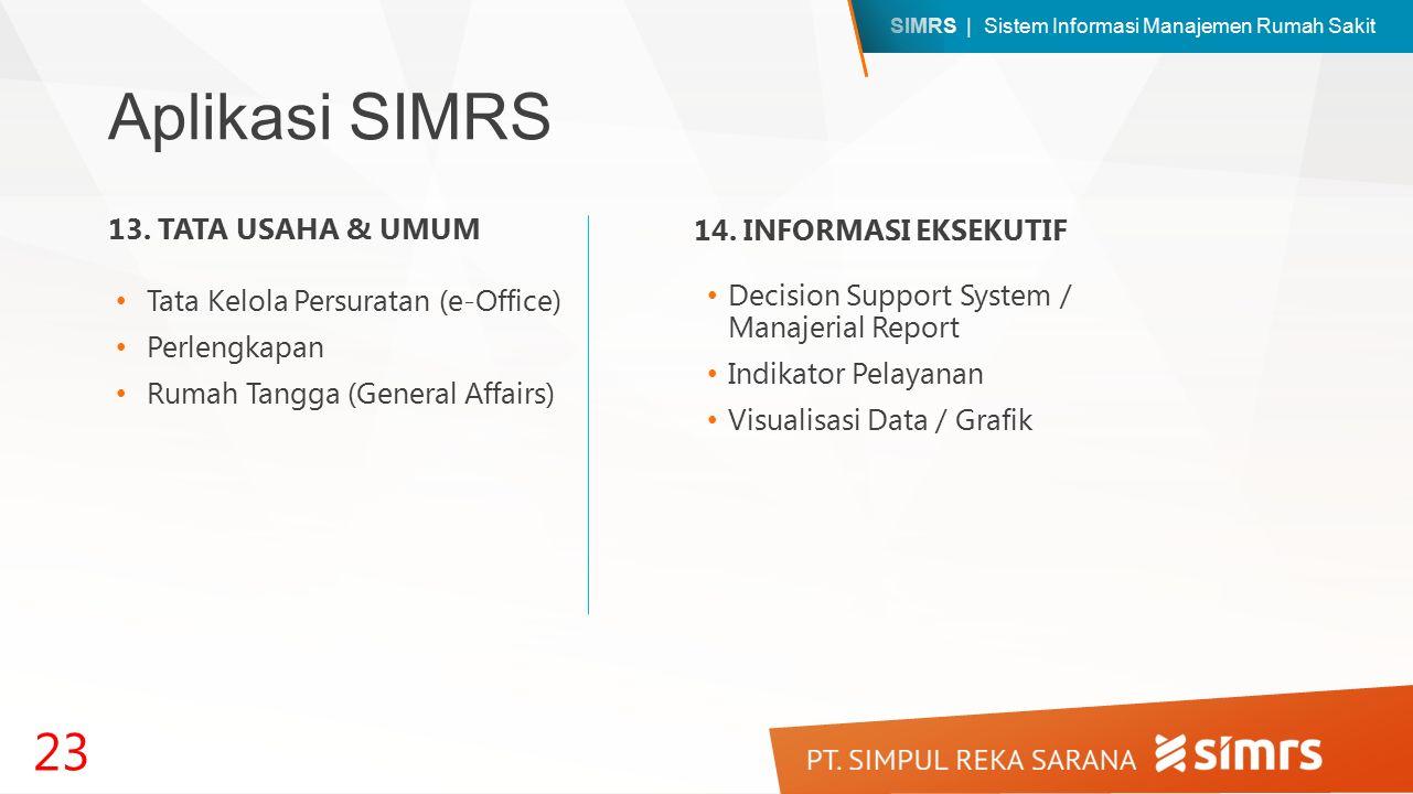 SIMRS | Sistem Informasi Manajemen Rumah Sakit Aplikasi SIMRS Decision Support System / Manajerial Report Indikator Pelayanan Visualisasi Data / Grafik 23 13.