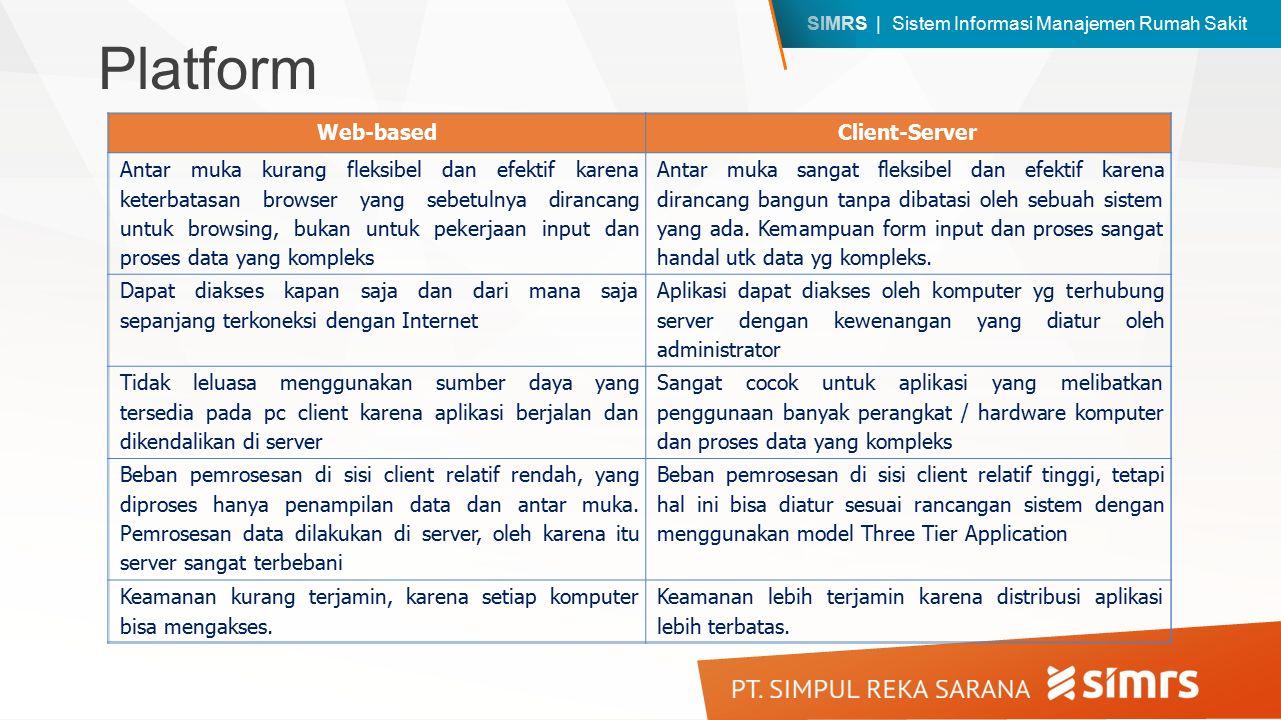 SIMRS | Sistem Informasi Manajemen Rumah Sakit Web-basedClient-Server Antar muka kurang fleksibel dan efektif karena keterbatasan browser yang sebetul
