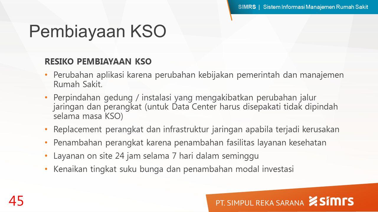 SIMRS | Sistem Informasi Manajemen Rumah Sakit Pembiayaan KSO RESIKO PEMBIAYAAN KSO Perubahan aplikasi karena perubahan kebijakan pemerintah dan manajemen Rumah Sakit.