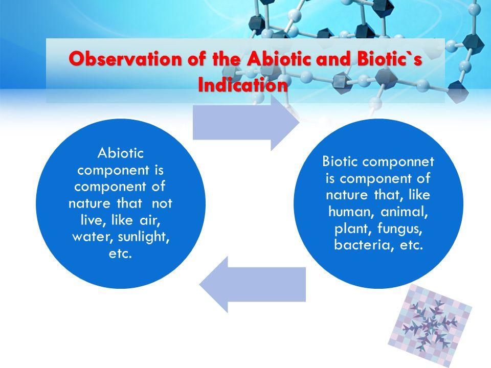 Berbagai aspek kehidupan dikupas tuntas melalui cabang Biologi seperti ciri-ciri fisik dipelajari dalam anatomi (tumbuhan, hewan maupun manusia), sedang fungsinya dipelajari dalam fisiologi Abiotic component is component of nature that not live, like air, water, sunlight, etc.