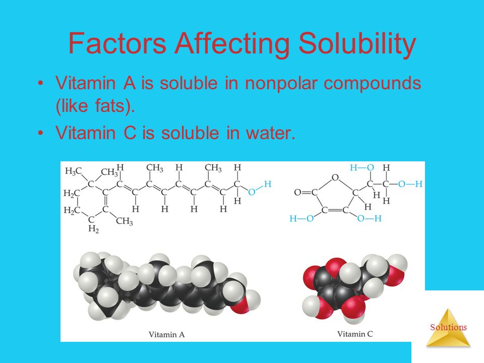 Solutions Factors Affecting Solubility Vitamin A is soluble in nonpolar compounds (like fats).