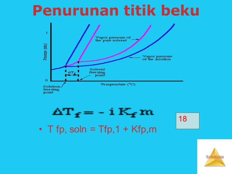 Solutions Penurunan titik beku T fp, soln = Tfp,1 + Kfp,m 18