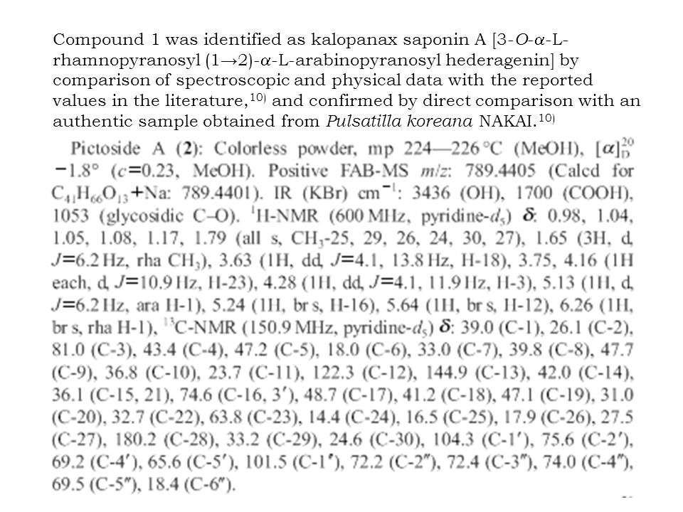 Compound 1 was identified as kalopanax saponin A [3- O -  -L- rhamnopyranosyl (1→2)-  -L-arabinopyranosyl hederagenin] by comparison of spectroscopic and physical data with the reported values in the literature, 10) and confirmed by direct comparison with an authentic sample obtained from Pulsatilla koreana NAKAI.