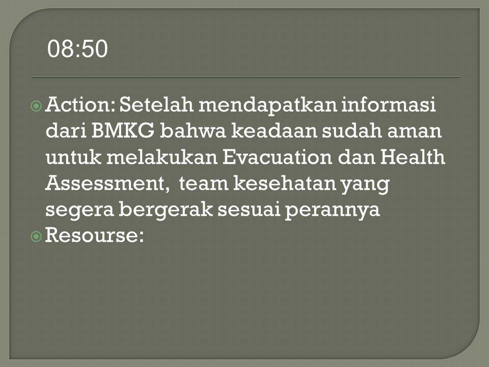  Action: Setelah mendapatkan informasi dari BMKG bahwa keadaan sudah aman untuk melakukan Evacuation dan Health Assessment, team kesehatan yang segera bergerak sesuai perannya  Resourse: 08:50