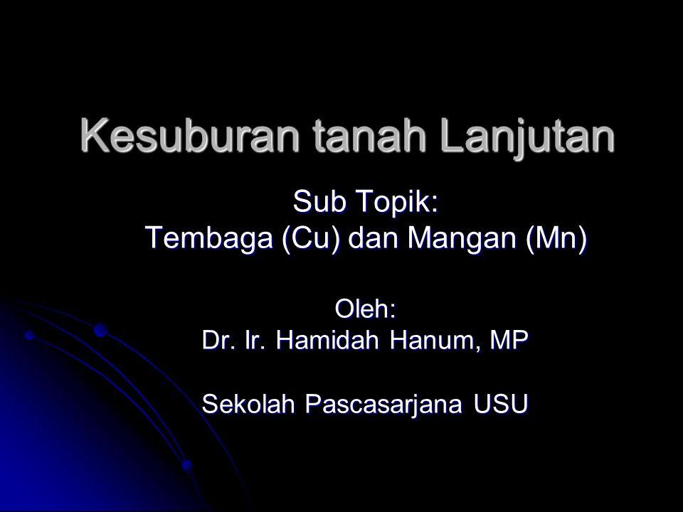 Kesuburan tanah Lanjutan Sub Topik: Tembaga (Cu) dan Mangan (Mn) Oleh: Dr. Ir. Hamidah Hanum, MP Sekolah Pascasarjana USU