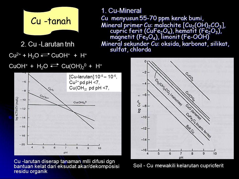 1. Cu-Mineral Cu menyusun 55-70 ppm kerak bumi, Mineral primer Cu: malachite [Cu 2 (OH) 2 CO 3 ], cupric ferit (CuFe 2 O 4 ), hematit (Fe 2 O 3 ), mag