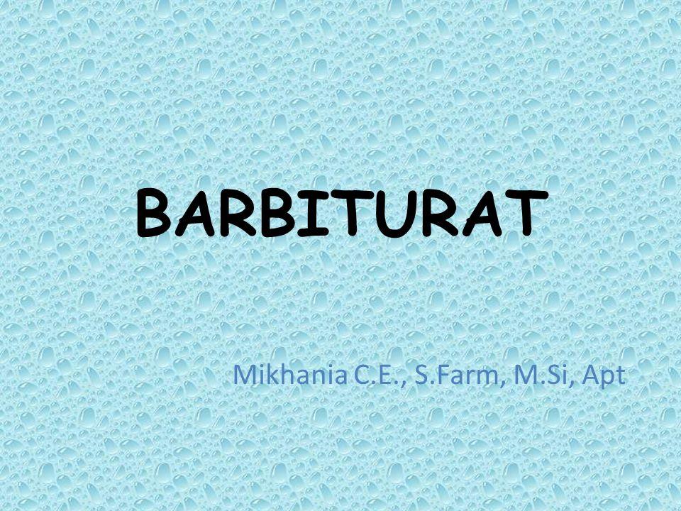 PENDAHULUAN Senyawa barbiturat adalah senyawa turunan asam barbiturat Digunakan sebagai depresan saraf pusat  anastesi dan sedasi Struktur dasar : asam barbiturat