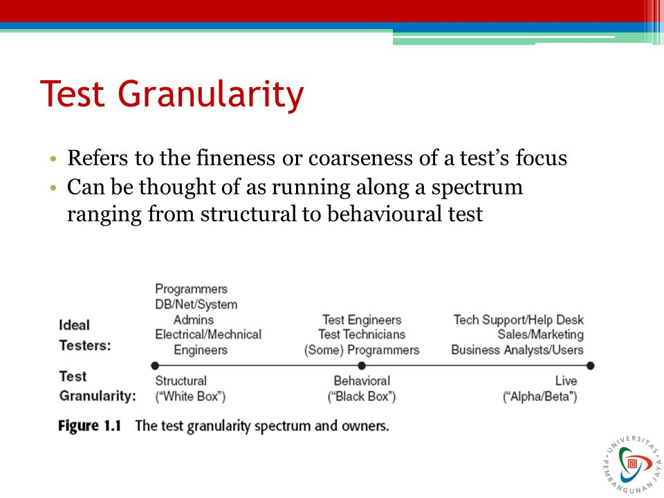 Test Granularity Refers to the fineness or coarseness of a test's focus Can be thought of as running along a spectrum ranging from structural to behav