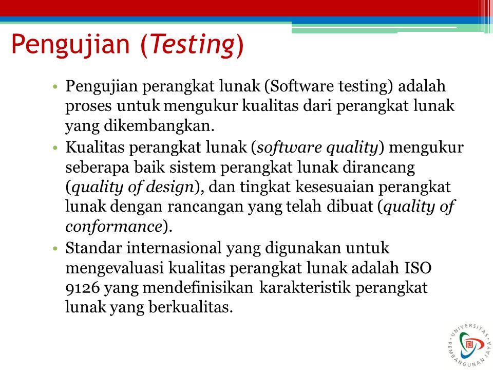 Pengujian (Testing) Pengujian perangkat lunak (Software testing) adalah proses untuk mengukur kualitas dari perangkat lunak yang dikembangkan. Kualita