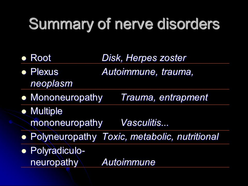 Summary of nerve disorders RootDisk, Herpes zoster RootDisk, Herpes zoster PlexusAutoimmune, trauma, neoplasm PlexusAutoimmune, trauma, neoplasm Monon