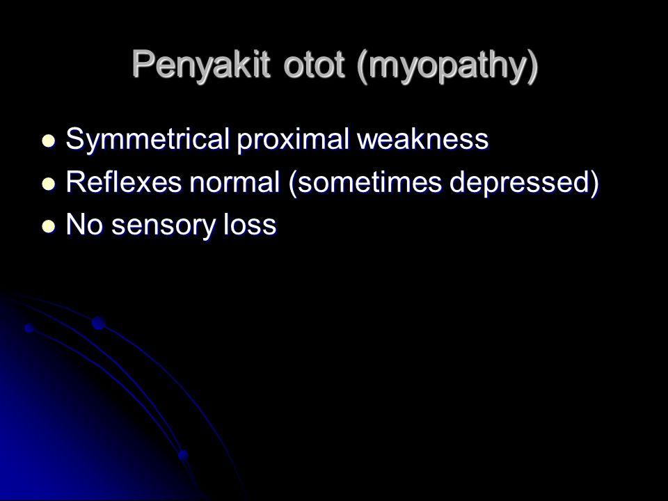 Penyakit otot (myopathy) Symmetrical proximal weakness Symmetrical proximal weakness Reflexes normal (sometimes depressed) Reflexes normal (sometimes