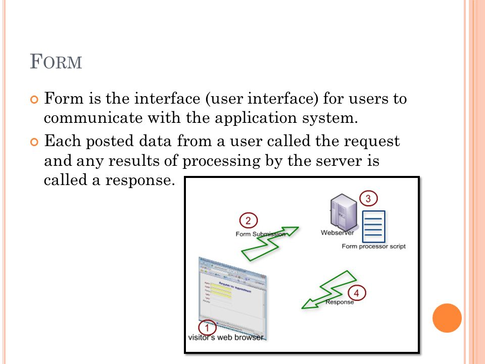 F ORM Form is the interface (user interface) for users to communicate with the application system. Each posted data from a user called the request and