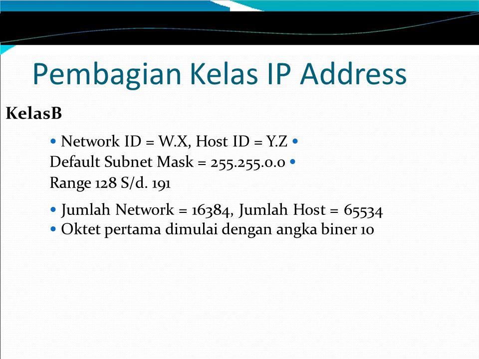 Pembagian Kelas IP Address KelasB Network ID = W.X, Host ID = Y.Z Default Subnet Mask = 255.255.0.0 Range 128 S/d.
