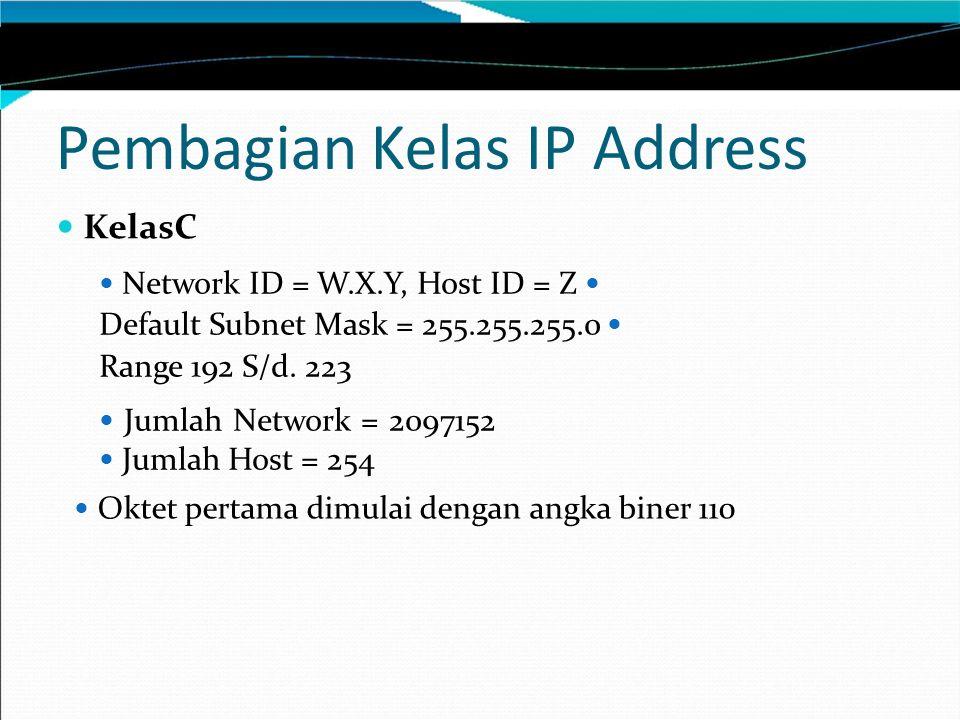 Pembagian Kelas IP Address KelasC Network ID = W.X.Y, Host ID = Z Default Subnet Mask = 255.255.255.0 Range 192 S/d.