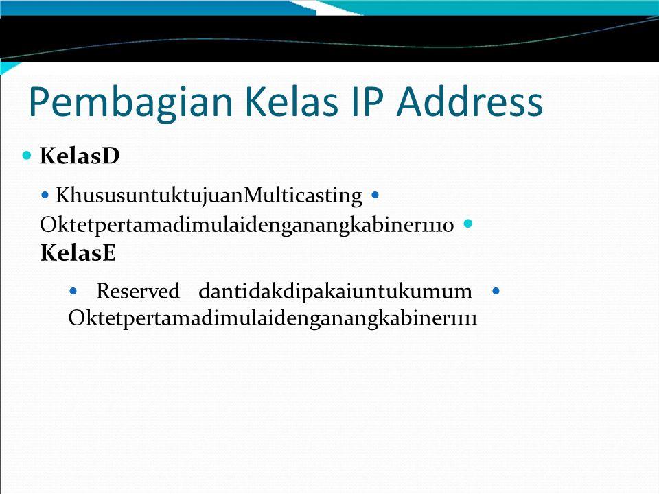 Pembagian Kelas IP Address KelasD KhususuntuktujuanMulticasting Oktetpertamadimulaidenganangkabiner1110 KelasE Reserved dantidakdipakaiuntukumum Oktetpertamadimulaidenganangkabiner1111