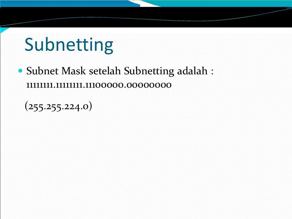 Subnetting Subnet Mask setelah Subnetting adalah : 11111111.11111111.11100000.00000000 (255.255.224.0)