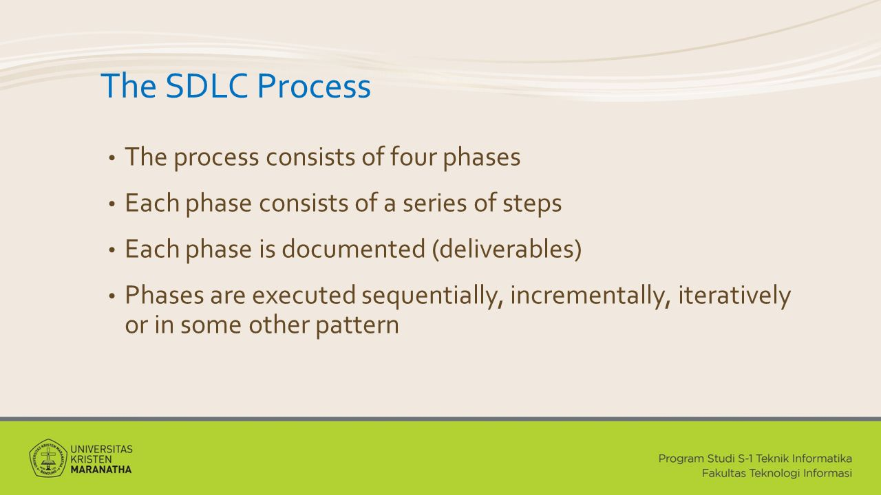 The SDLC Process The process consists of four phases Each phase consists of a series of steps Each phase is documented (deliverables) Phases are executed sequentially, incrementally, iteratively or in some other pattern