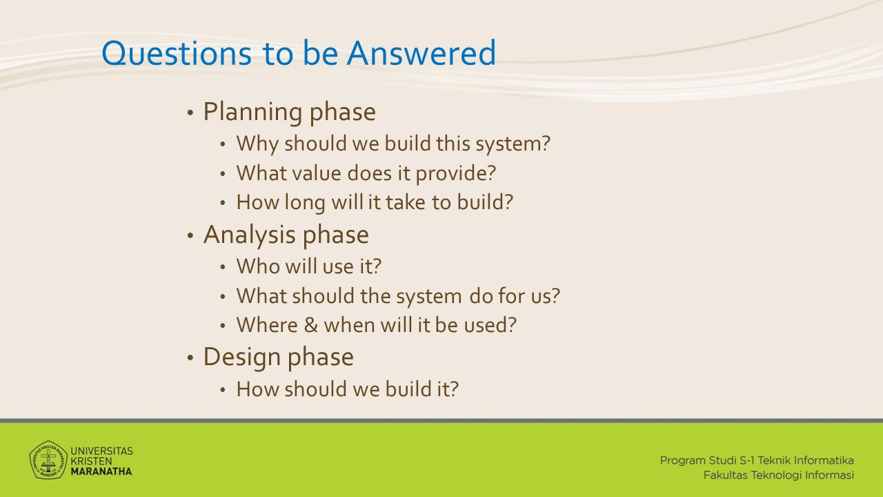 Questions to be Answered Planning phase Why should we build this system.