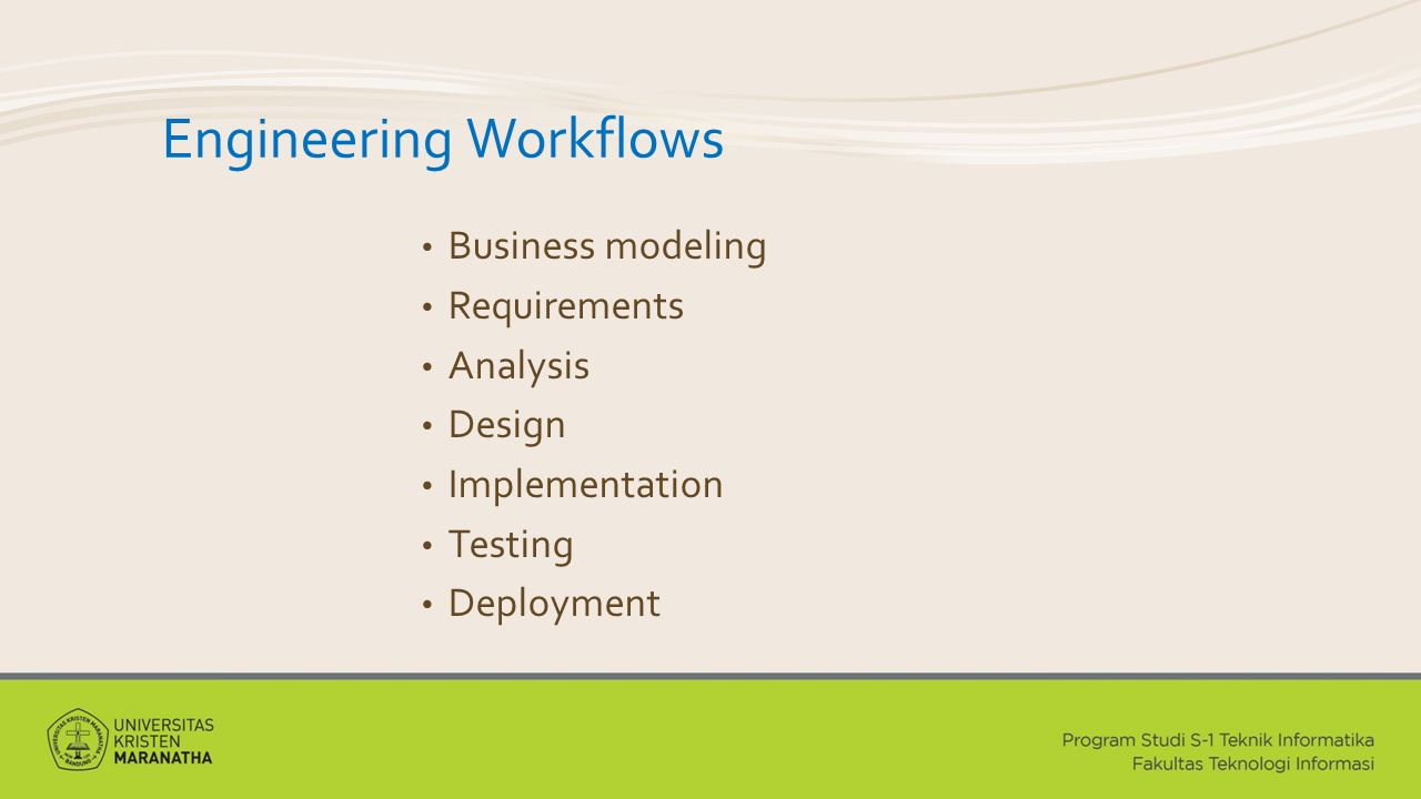Engineering Workflows Business modeling Requirements Analysis Design Implementation Testing Deployment