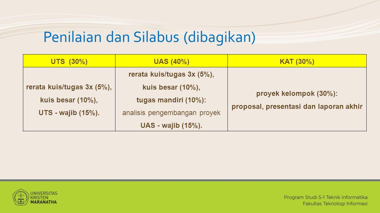 Penilaian dan Silabus (dibagikan) UTS (30%)UAS (40%)KAT (30%) rerata kuis/tugas 3x (5%), kuis besar (10%), UTS - wajib (15%). rerata kuis/tugas 3x (5%