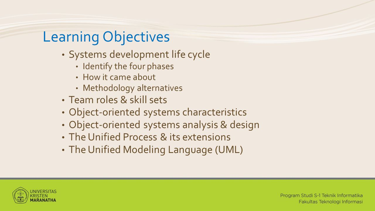 The Unified Process A specific methodology that maps out when and how to use the various UML techniques for object-oriented analysis and design A two-dimensional process consisting of phases and workflows Phases are time periods in development Workflows are the tasks that occur in each phase Activities in both phases & workflows will overlap