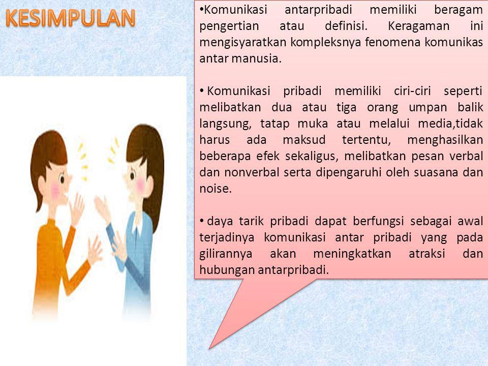 Komunikasi antarpribadi memiliki beragam pengertian atau definisi.