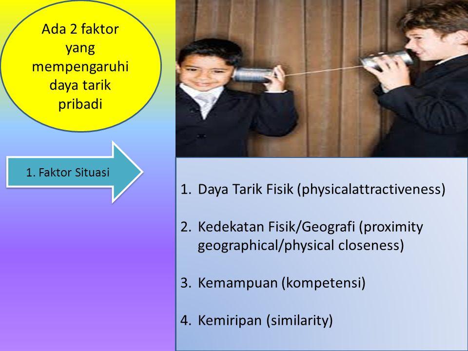 Ada 2 faktor yang mempengaruhi daya tarik pribadi 1.