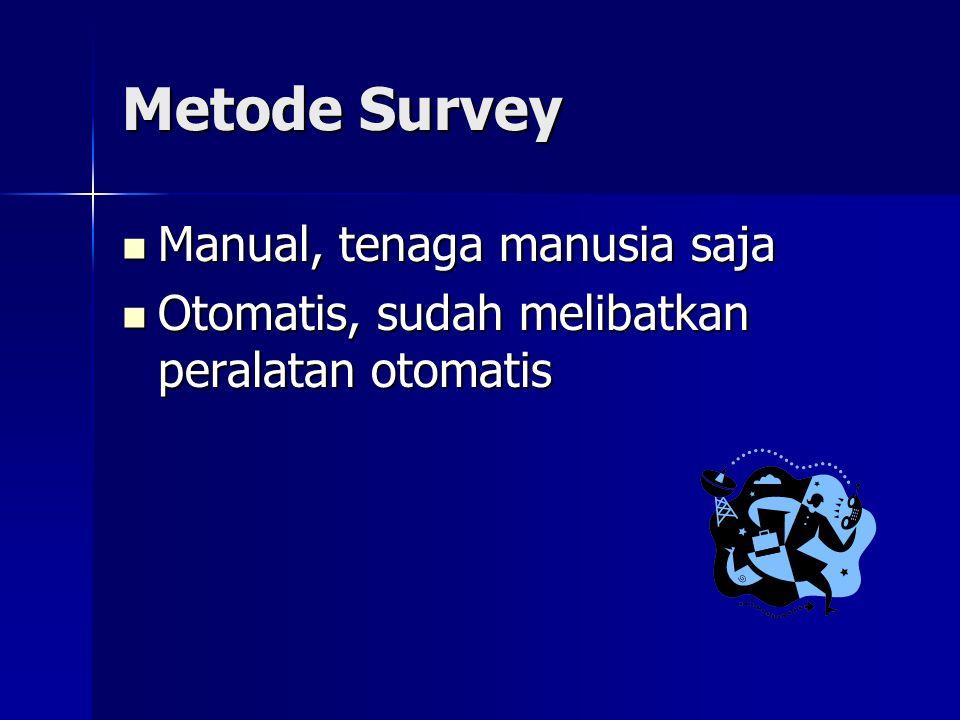 Metode Survey Manual, tenaga manusia saja Manual, tenaga manusia saja Otomatis, sudah melibatkan peralatan otomatis Otomatis, sudah melibatkan peralat