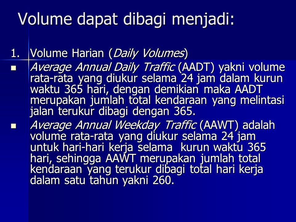 Volume dapat dibagi menjadi: 1.Volume Harian (Daily Volumes) Average Annual Daily Traffic (AADT) yakni volume rata-rata yang diukur selama 24 jam dala