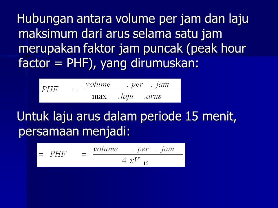 Hubungan antara volume per jam dan laju maksimum dari arus selama satu jam merupakan faktor jam puncak (peak hour factor = PHF), yang dirumuskan: Untu