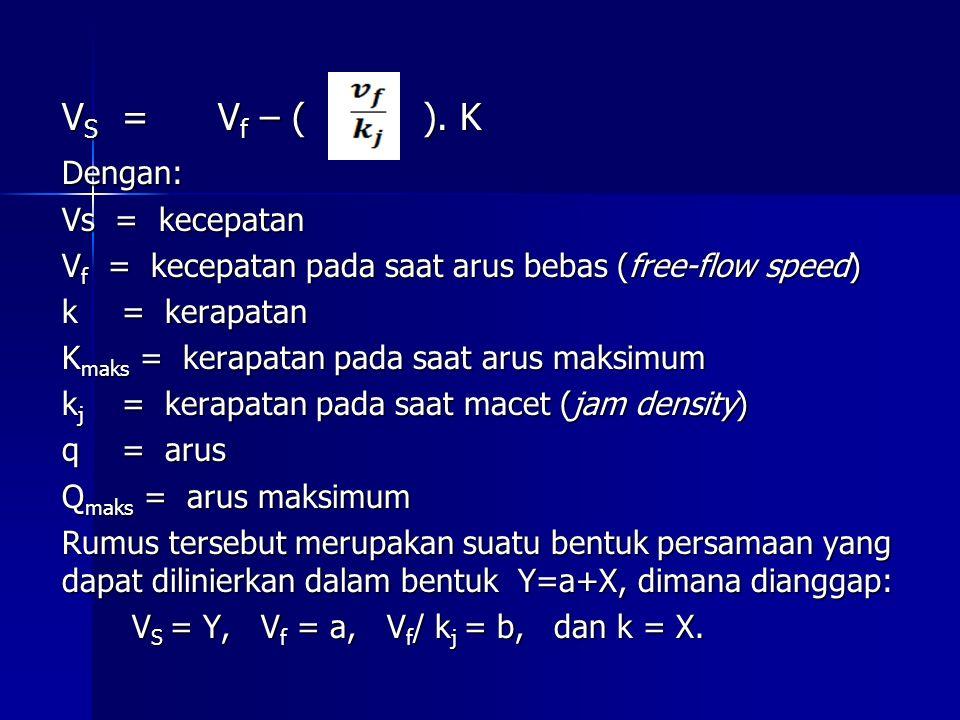 V S =V f – ( ). K Dengan: Vs = kecepatan V f = kecepatan pada saat arus bebas (free-flow speed) k = kerapatan K maks = kerapatan pada saat arus maksim