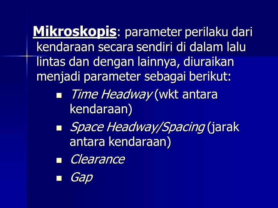 Mikroskopis : parameter perilaku dari kendaraan secara sendiri di dalam lalu lintas dan dengan lainnya, diuraikan menjadi parameter sebagai berikut: T