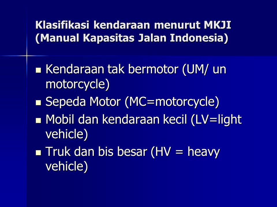 Klasifikasi kendaraan menurut MKJI (Manual Kapasitas Jalan Indonesia) Kendaraan tak bermotor (UM/ un motorcycle) Kendaraan tak bermotor (UM/ un motorc