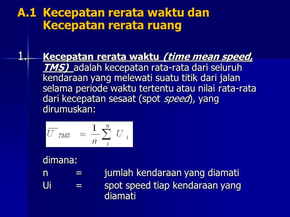 Atau:dimana: L=pajang ruas jalan yang ditempuh kendaraan ti=waktu yang diperlukan tiap kendaraan yang diamati untuk menempuh jarak L 2.