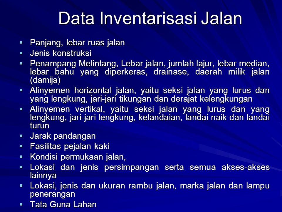 Data Inventarisasi Jalan  Panjang, lebar ruas jalan  Jenis konstruksi  Penampang Melintang, Lebar jalan, jumlah lajur, lebar median, lebar bahu yan