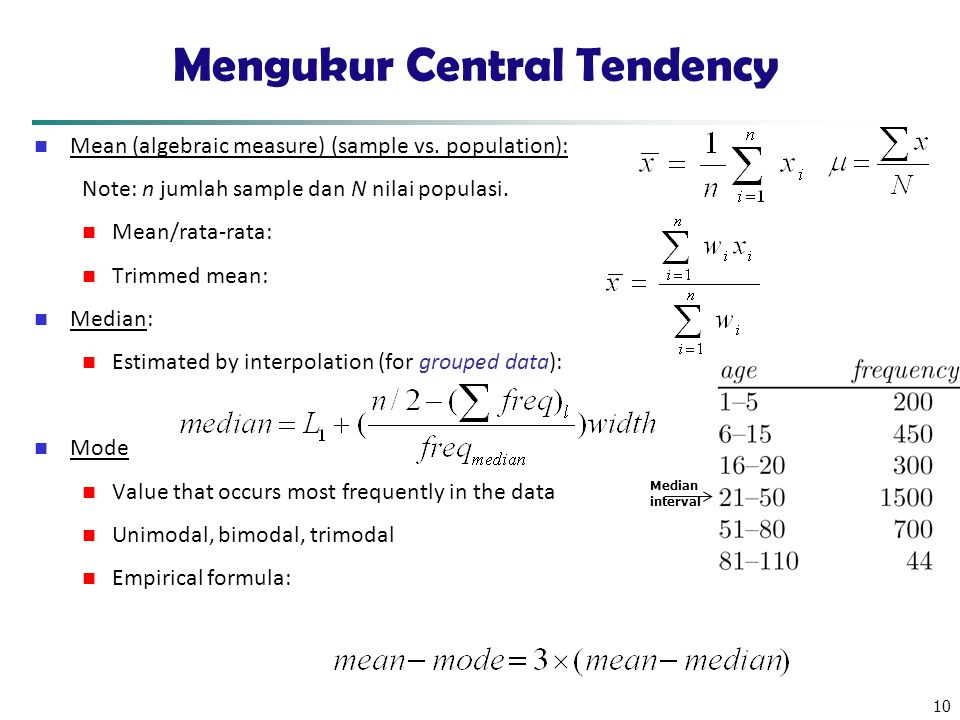 10 Mengukur Central Tendency Mean (algebraic measure) (sample vs. population): Note: n jumlah sample dan N nilai populasi. Mean/rata-rata: Trimmed mea