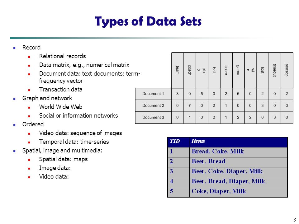 3 Types of Data Sets Record Relational records Data matrix, e.g., numerical matrix Document data: text documents: term- frequency vector Transaction data Graph and network World Wide Web Social or information networks Ordered Video data: sequence of images Temporal data: time-series Spatial, image and multimedia: Spatial data: maps Image data: Video data: