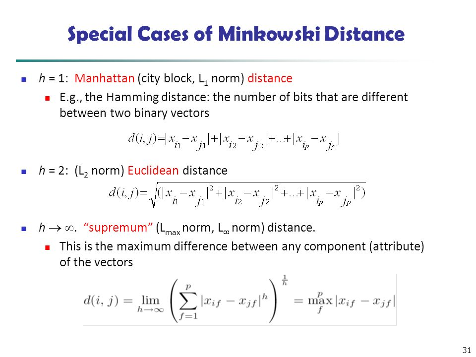 31 Special Cases of Minkowski Distance h = 1: Manhattan (city block, L 1 norm) distance E.g., the Hamming distance: the number of bits that are differ