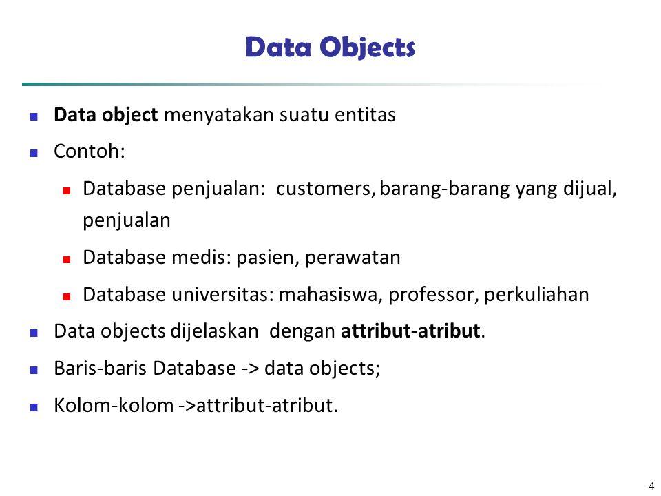4 Data Objects Data object menyatakan suatu entitas Contoh: Database penjualan: customers, barang-barang yang dijual, penjualan Database medis: pasien, perawatan Database universitas: mahasiswa, professor, perkuliahan Data objects dijelaskan dengan attribut-atribut.