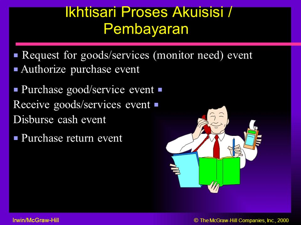 Ikhtisari Proses Akuisisi / Pembayaran ■ Request for goods/services (monitor need) event ■ Authorize purchase event ■ Purchase good/service event ■ Re